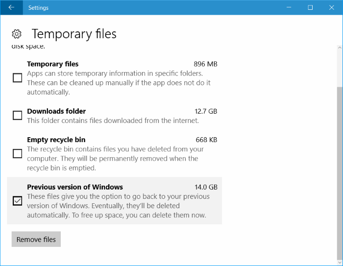 liberar espacio en disco después de la actualización del aniversario de Windows 10 pic3