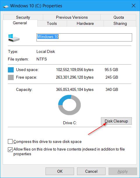 liberar espacio en disco después de la actualización del aniversario de Windows 10 pic5