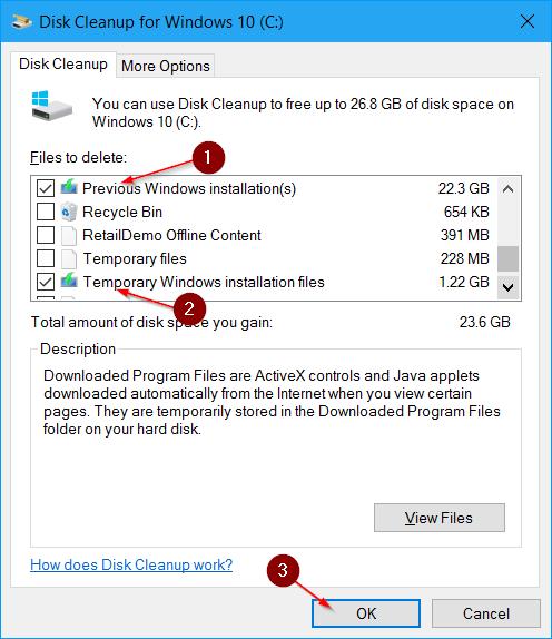 liberar espacio en disco después de la actualización del aniversario de Windows 10 pic7