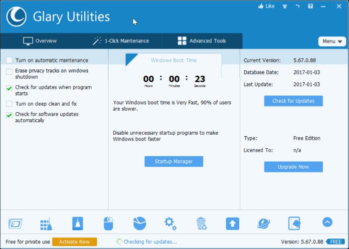 glary utilities free for Windows 10