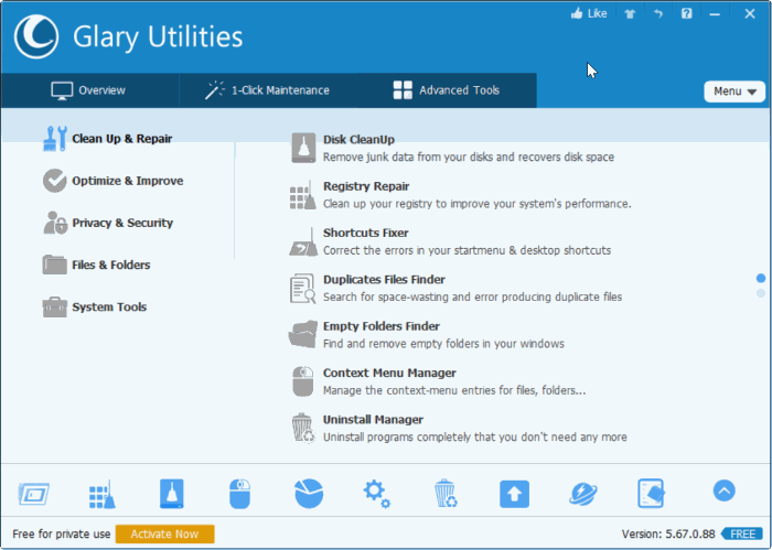 download glary utilities free for Windows 10
