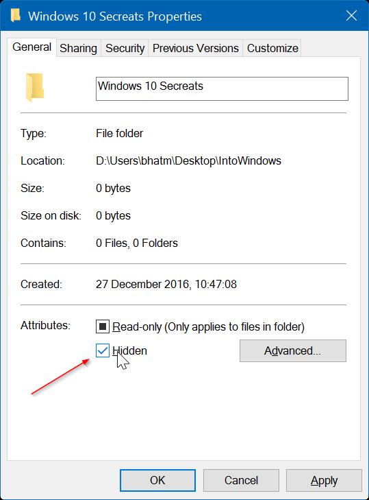 ocultar archivos y carpetas en Windows 10 pic2