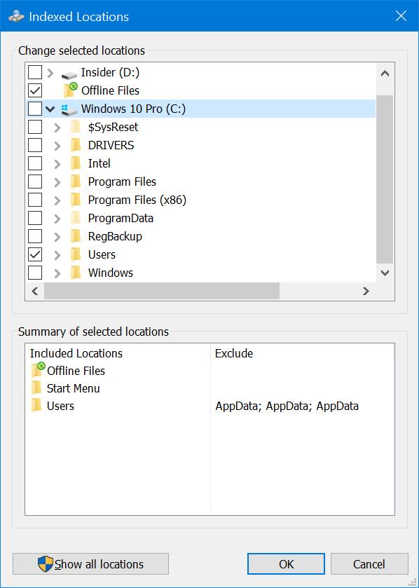 ocultar archivos y carpetas de los resultados de búsqueda en Windows 10 pic3