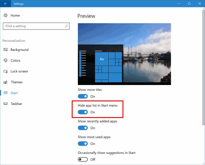 ocultar o eliminar la lista de aplicaciones del menú de inicio en Windows 10