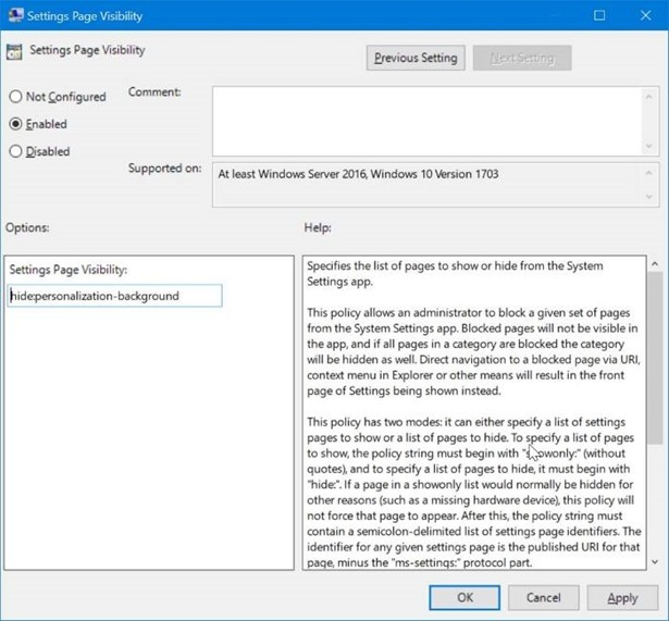 ocultar páginas específicas de Settings app en Windows 10 pic2