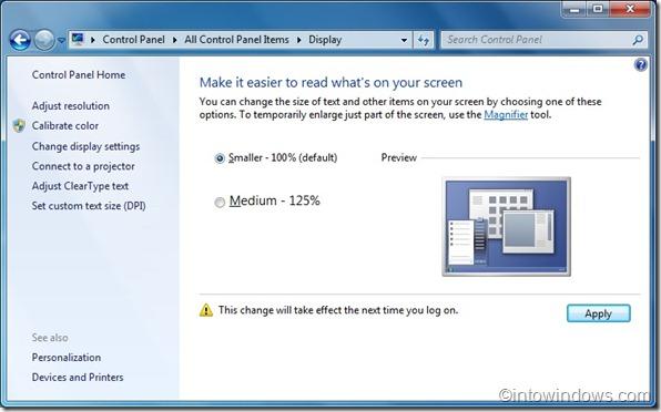 cómo aumentar el tamaño del texto de la pantalla de inicio de sesión en windows 7