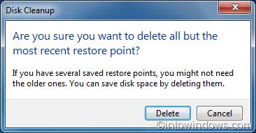 eliminar todos los puntos de restauración excepto los más recientes en el último paso de Windows 7
