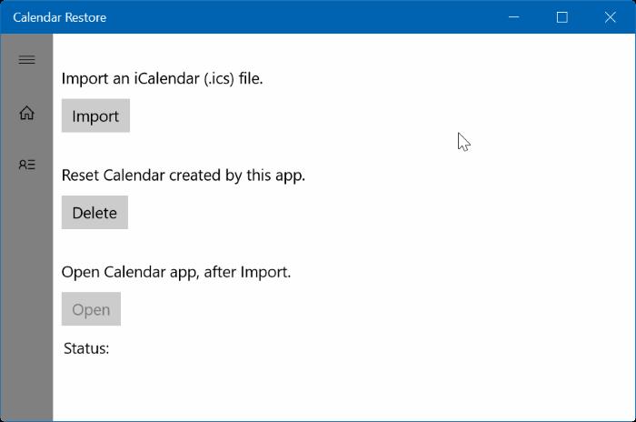 importar ICS en Windows 10 Calendar pic1