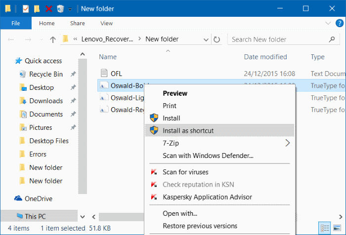 instalar fuentes como acceso directo en Windows 10 step5