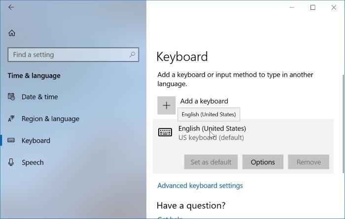ajustes del teclado en Windows 10pic01
