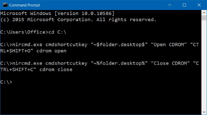 método abreviado de teclado para abrir la bandeja de CDDVD en Windows 10