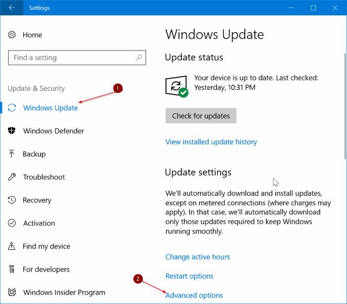 limitar el uso de ancho de banda de Windows Update en Windows 10 pic1