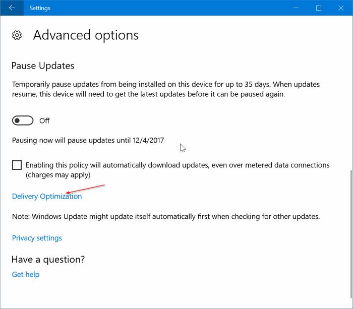 limitar el uso de ancho de banda de Windows Update en Windows 10 pic2