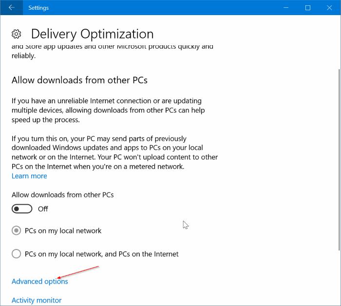 limitar el uso de ancho de banda de Windows Update en Windows 10 pic3