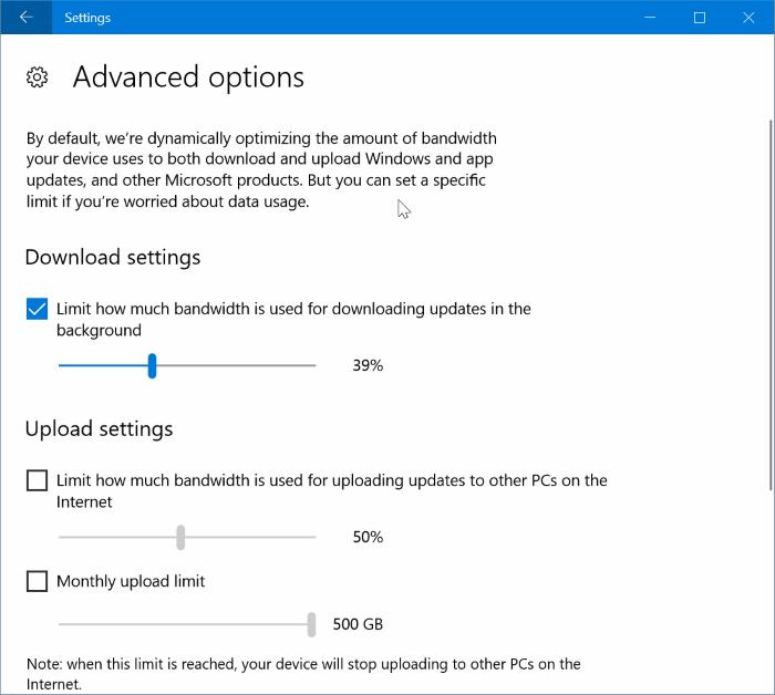 limitar el uso de ancho de banda de Windows Update en Windows 10 pic4