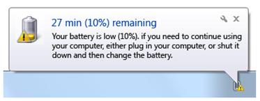 notificación de batería baja
