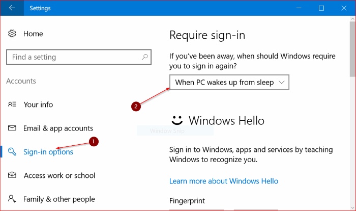 make windows 10 require password on wake up from sleep