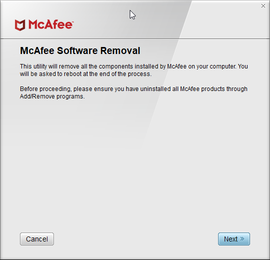 mcafee consumer product removal tool for Windows 10 pic1