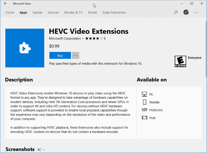 microsoft charging for hevc media extensions