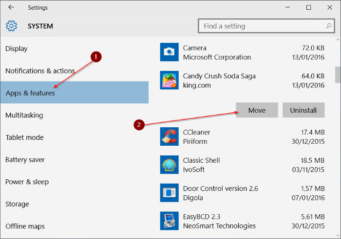 move installed apps to another drive