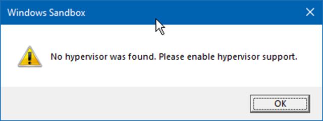 no se encontró ningún error de caja de arena en windows 10