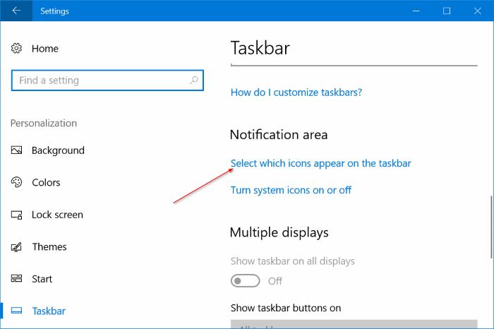 área de notificación iconos área no oculta en Windows 10 pic3