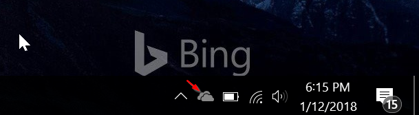 Falta icono de onedrive en la barra de tareas de Windows 10