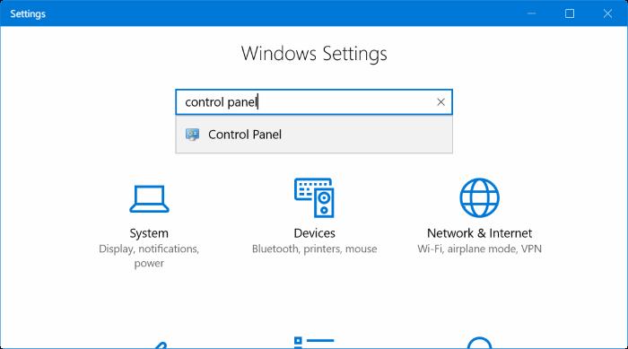 abrir Panel de control desde Configuración en Windows 10
