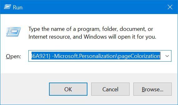 abrir color y apariencia en Windows 10