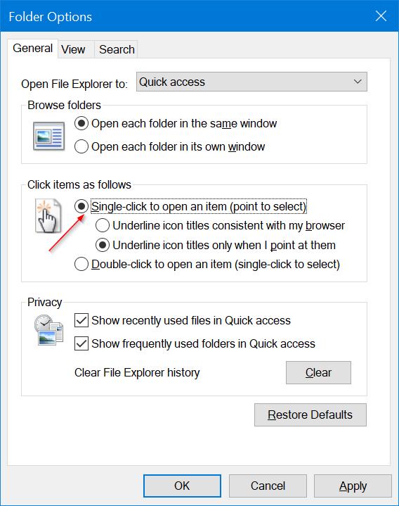 abrir archivos y carpetas con un solo clic en Windows 10 pic3