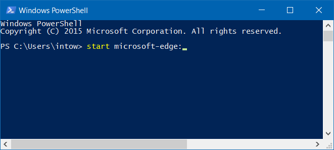 open microsoft edge from powershell in windows 10