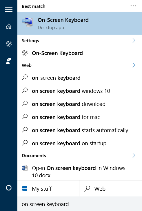 abrir teclado en pantalla en Windows 10 pic1