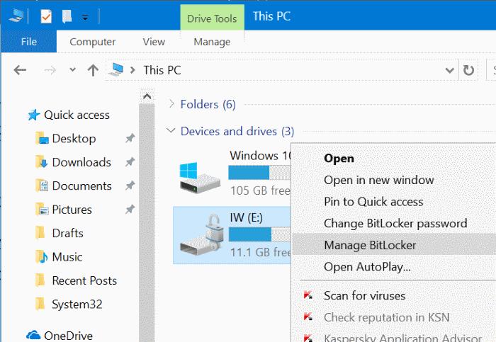 proteger con contraseña las unidades USB en Windows 10 pic10