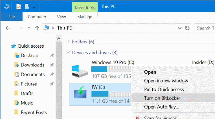 proteger con contraseña las unidades USB en Windows 10 pic1