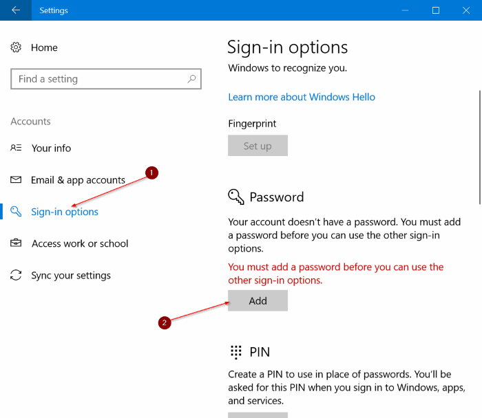 proteger con contraseña Windows 10 PC pic1