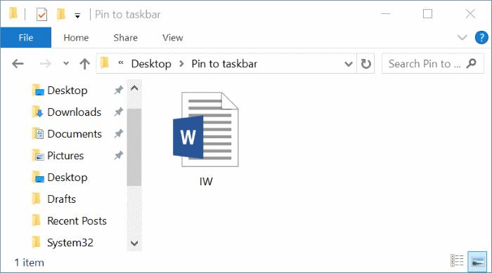 pin any file to Windows 10 taskbar pic1