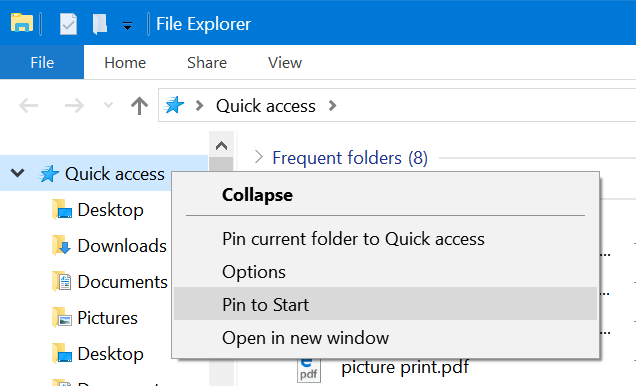 pin quick access to the taskbar in Windows 10 pic1
