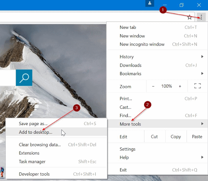 anclar sitios web a la barra de tareas en Windows 10 pic1