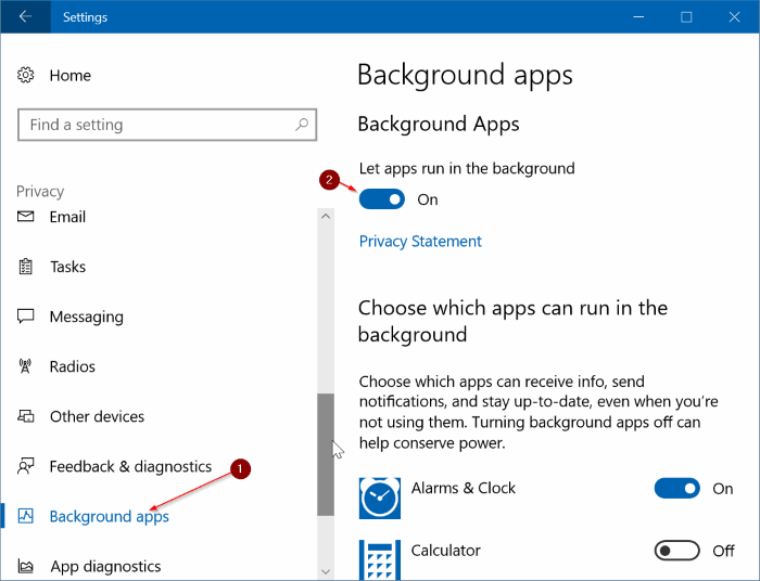 impedir que las aplicaciones se ejecuten en segundo plano en Windows 10 pic1