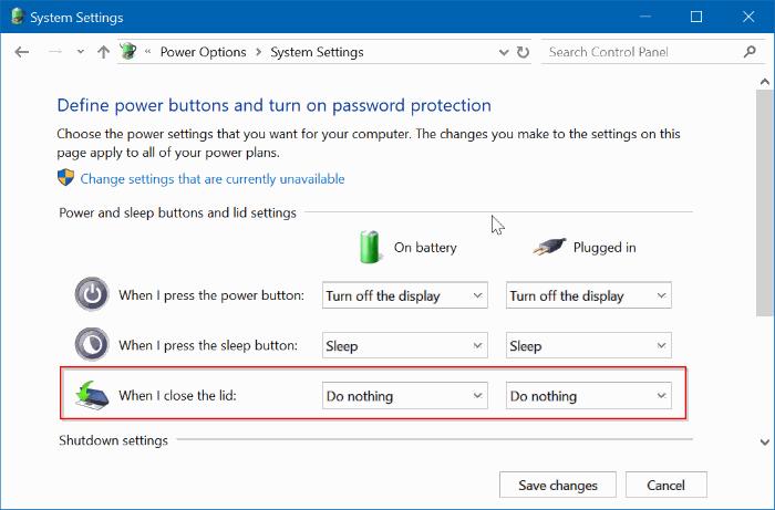 impedir que el ordenador portátil empiece a abrir la tapa en windows 10 pic3