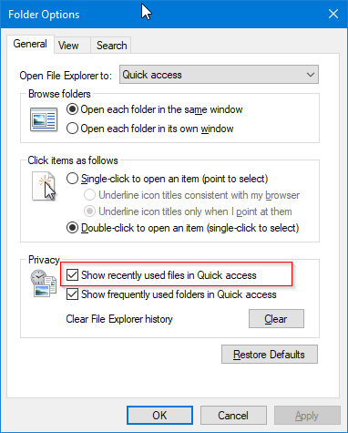 quick access not showing recent files in Windows 10 pic2