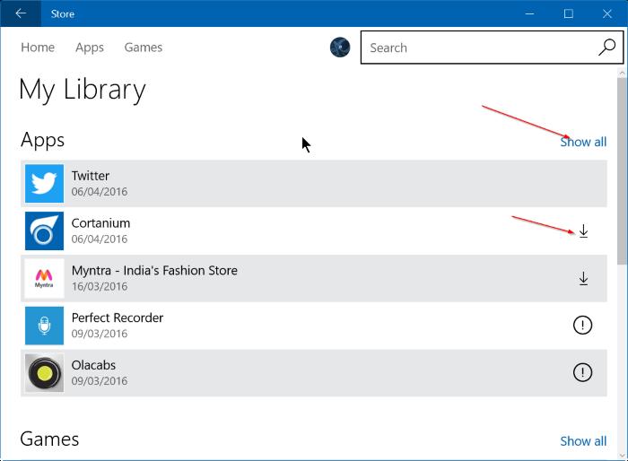 reinstalar juegos de aplicaciones comprados en Store en Windows 10 step3
