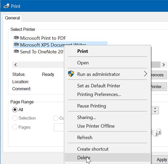 quitar Microsoft XPS Document Writer de Windows 10 pic10