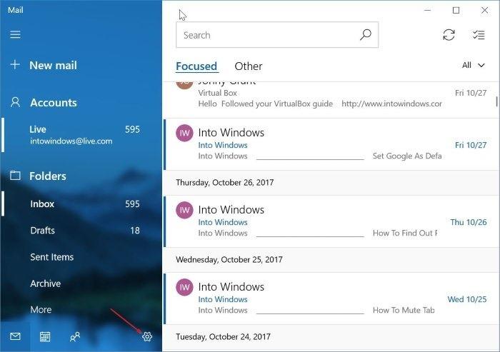 eliminar una cuenta de correo electrónico de Mail app en Windows 10 pic5