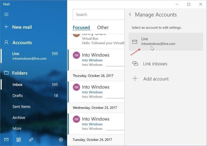 eliminar una cuenta de correo electrónico de Mail app en Windows 10 pic7