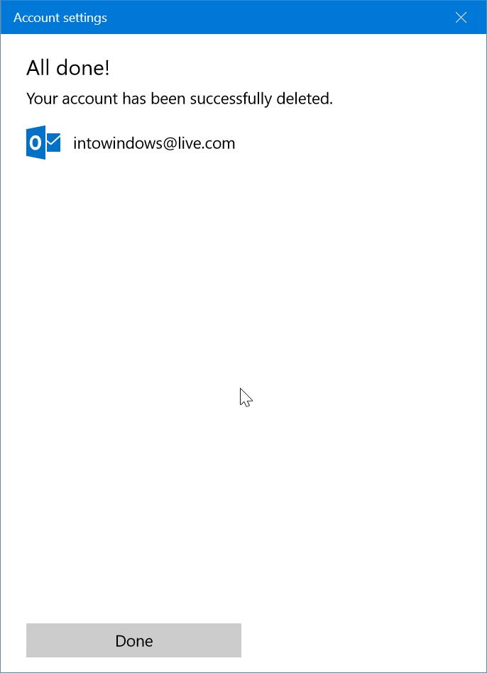 eliminar una cuenta de correo electrónico de Mail app en Windows 10 pic9
