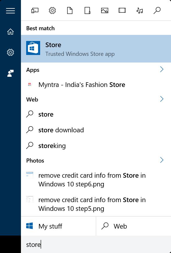 quitar información de tarjeta de crédito de Store in Windows 10 step1