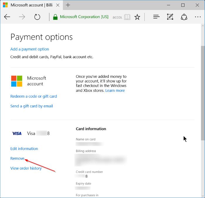 quitar información de tarjeta de crédito de Store in Windows 10 step5