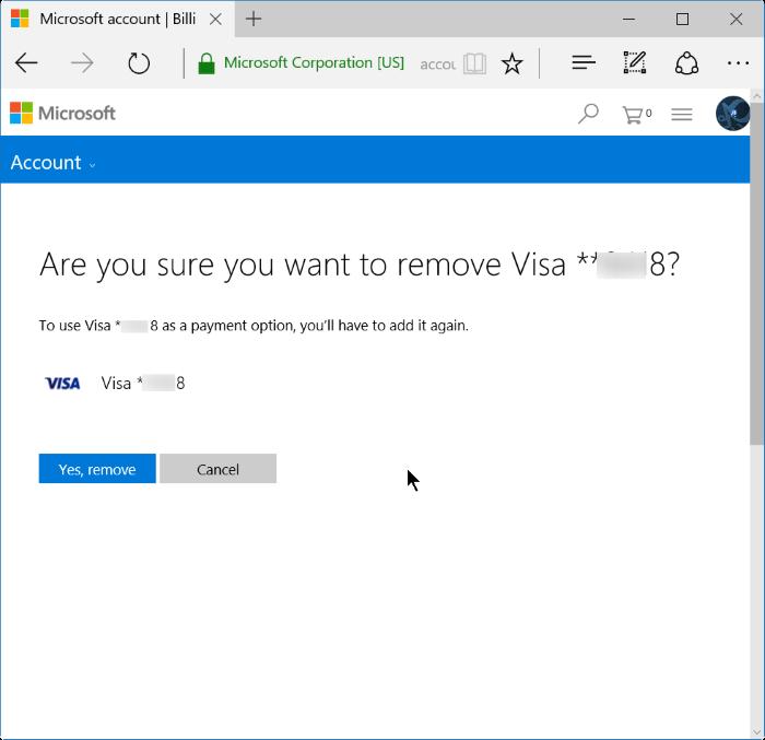 quitar información de tarjeta de crédito de Store in Windows 10 step6