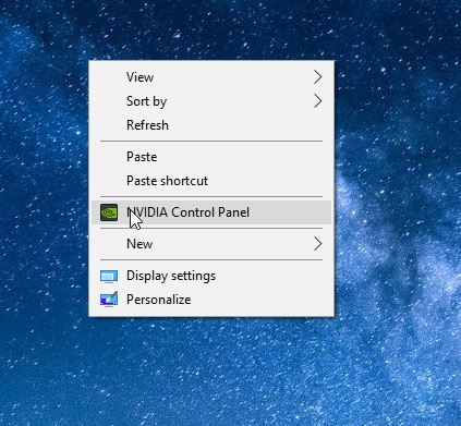 remove nvidia control panel from desktop right click menu in Windows 10 pic1